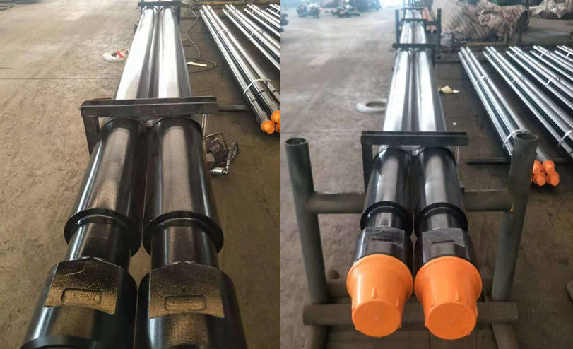 Friction welded Oil and  Gas Well DTH Drilling Tools Threaded Steel Rod Pipe With Wrench Flat Length 1000mm - 3000mm
